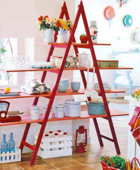 Tag re chelle diy pinterest tag res rouge et id es - Etagere echelle rouge ...