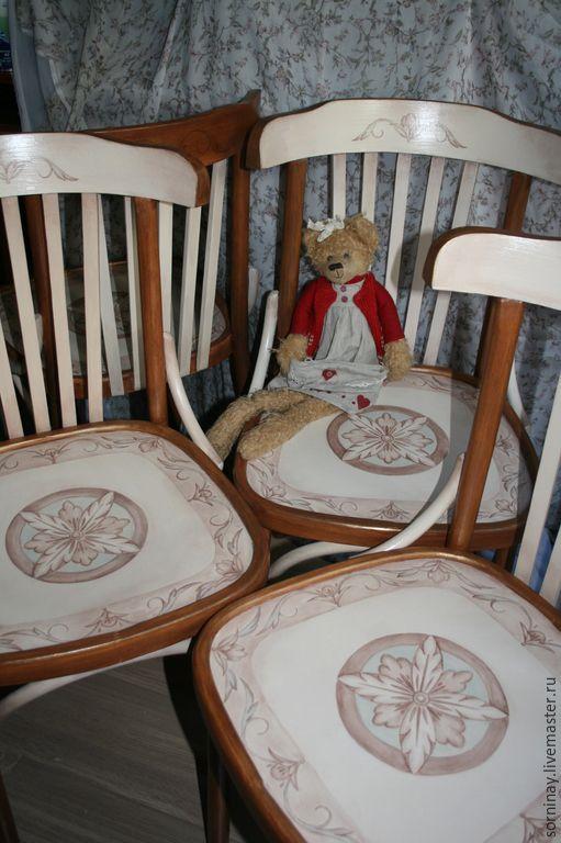 Купить Роспись стульев в русско-византийском стиле. - коричневый, стулья, стул, Роспись по дереву