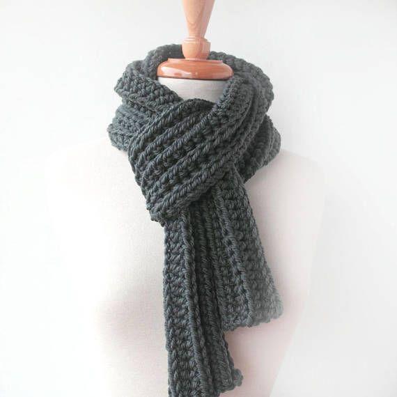 120a28c6cbf83 Men's Gray Knit Scarf - Boyfriend Gift Idea - Man scarf - Grey ...