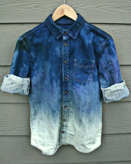 #DIY #ombre #denim #jean #shirt. Easy #tutorial  and great look. #DaytoNightChic