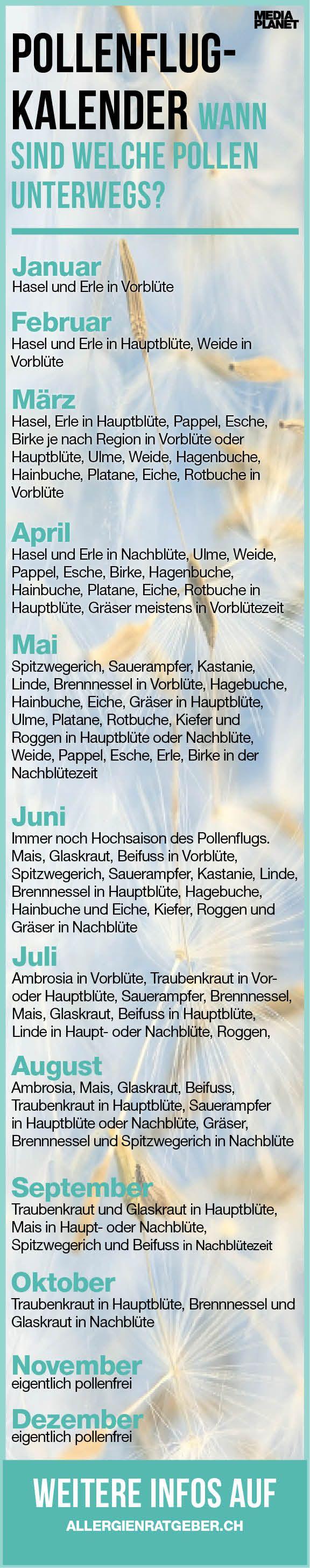 #Pollenflugkalender #allergien  #heuschnupfen  #tipps  #Blüten