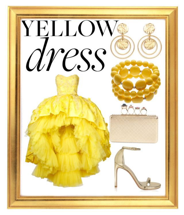 """yellow dress"" by renataoczak on Polyvore featuring Mikael D, Stuart Weitzman, Kenneth Jay Lane and Alexander McQueen"