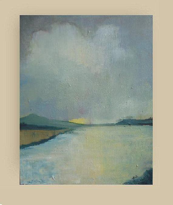 Hazy Sunshine - Original Acrylic Painting - Landscape Painting - skyscape painting - clouds , lake, atmospheric - canvas 18x24