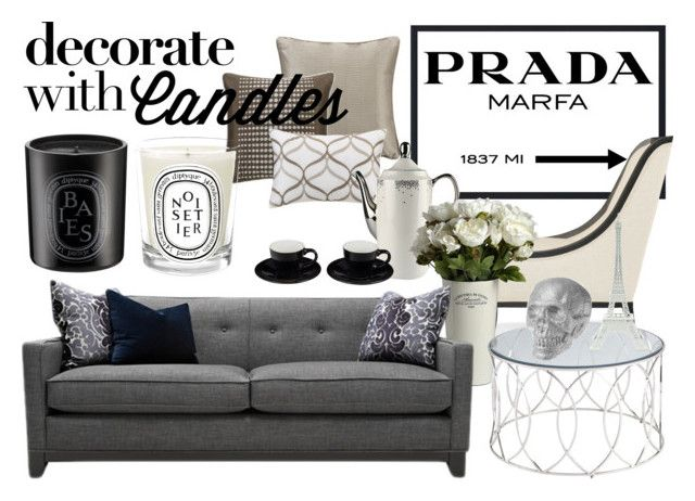 """""""Decorate With Candles"""" by hannabanes ❤ liked on Polyvore featuring interior, interiors, interior design, home, home decor, interior decorating, Madison Park, Diptyque, Prada and Kelly Wearstler"""
