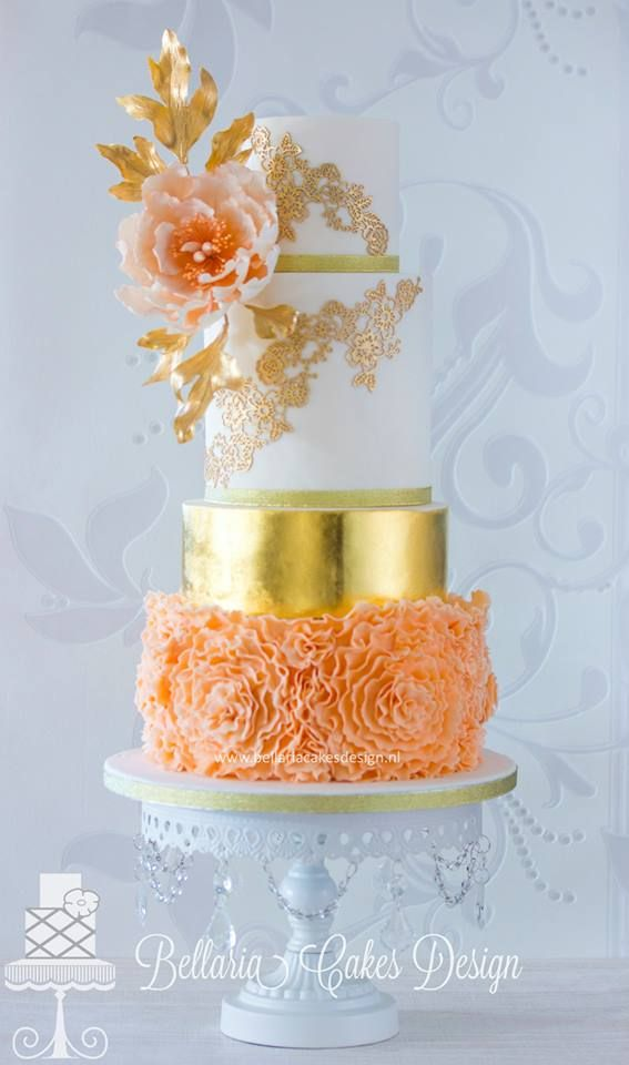 orange and gold wedding cake 17 best images about coral and orange cakes on 18035