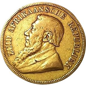 1894 Kruger One Pound / Een Pond South African 22K Gold Coin. #AntiqueCoins #RareAntiques
