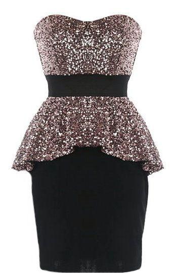 jurk peplum glitter zwart