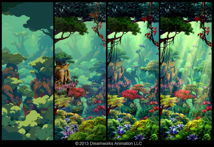 DreamWorks artist Arthur Fong's painting process.  Most of the time, it starts with blocking in graphic shapes and colors with the proper layer organized. I tend to paint tight so even in my block in, I'm very specific with the shapes I'm designing. The next few stages go by pretty quick because all I'm doing is throwing in photos, adjusting hue and value, and layer masking.