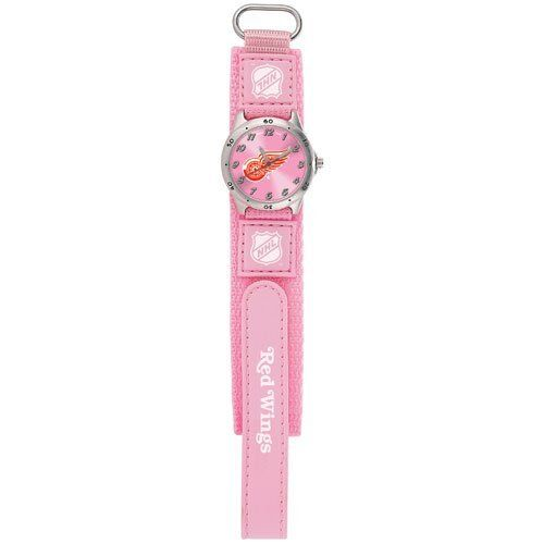NHL Kids' Future Star Series Detroit Red Wings Pink Watch #HF1-DET Game Time. $19.95. Water-resistant to 99 feet (30 M). Stainless-steel case back and quartz accuracy. Adjustable velcro strap designed for ladies and younger fans - maximum wrist size: 6''. Shock Resistant and Water Resistant to 100 feet. Officially Licensed Team logo. Save 20%!