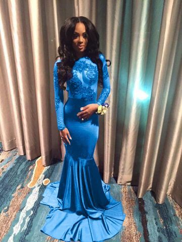 cefc0872eb18f $106.90 Sexy Blue Mermaid Long Sleeves Backless Appliques Prom Dresses 2019  Open Back