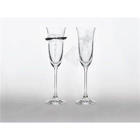 2 stk. Champagneglass med sløyfe og slør