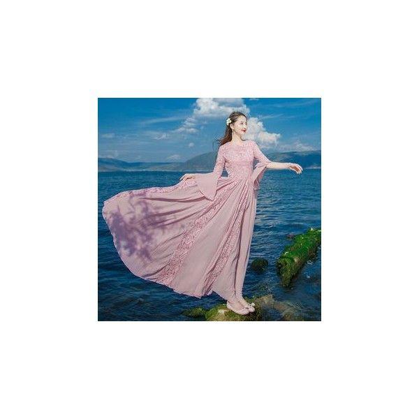 Lace-Panel Maxi Sundress (720 EGP) ❤ liked on Polyvore featuring dresses, women, lace panel dress, purple sundress, maxi sun dresses, maxi dresses and lace panel maxi dress