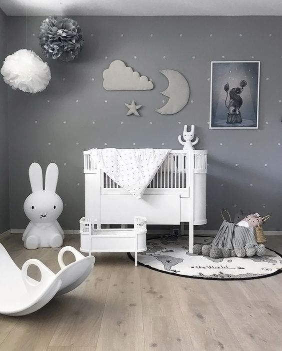 A Beautiful Grey Nursery With Sky Theme Paper Pompoms And Stuffed Cloud Moon Star