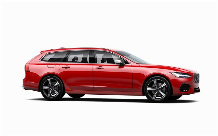 تحميل خلفيات فولفو V90 R-تصميم, 2017, 4k, ستيشن, الأحمر V90, السويدية السيارات, السيارات الجديدة, فولفو
