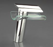 Free shipping brass material chrome plating modern design bathroom glass sink faucet waterfall tap mixer(China (Mainland))