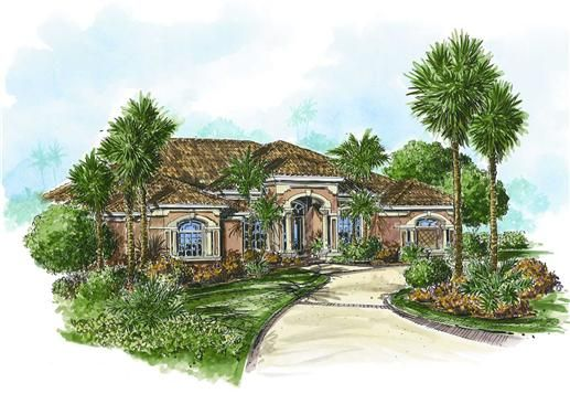 The casa lago house plan is a single story mediterranean for Mediterranean house features