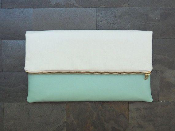 Vegan leather blue and white canvas foldover clutch, faux leather, zipper clutch, clutch purse, clutch bag, summer, de almeida designs