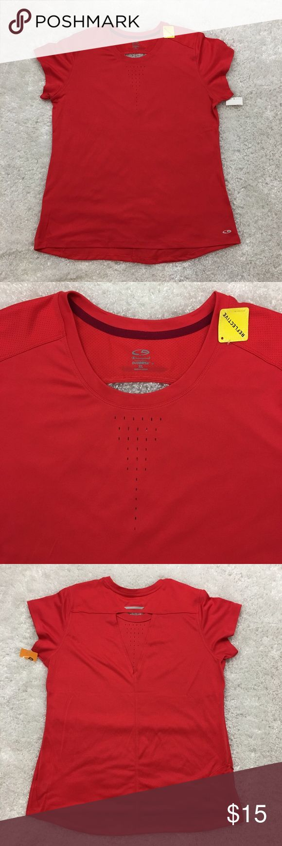 """NWT Champion Women's Duo dry Workout Shirt, XL NWT C9 Champion Women's Duo Dry workout shirt with laser cut in the front and cut-out in the back. Comes with a zipped pocket in the back secure an ID and keys. Color is reflective in red/orange mix.  Size XL Armpit to armpit laid flat 22"""" Length 28"""" Approximate only.  New with tag.  No stains or holes.  Stored in a smoke and pet free household.  Please see all pictures in details or ask any questions to avoid return.  Check out my store for…"""
