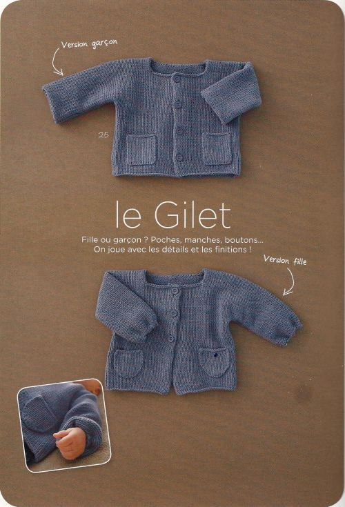 Tuto gilet garçon / fille. 3-12 months. Free pattern in French