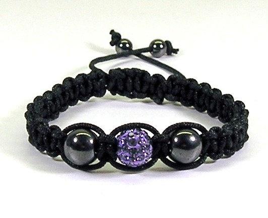 Macrame Bracelet Black w Purple Pave Bead by TheShimmeringPalace, $14.00