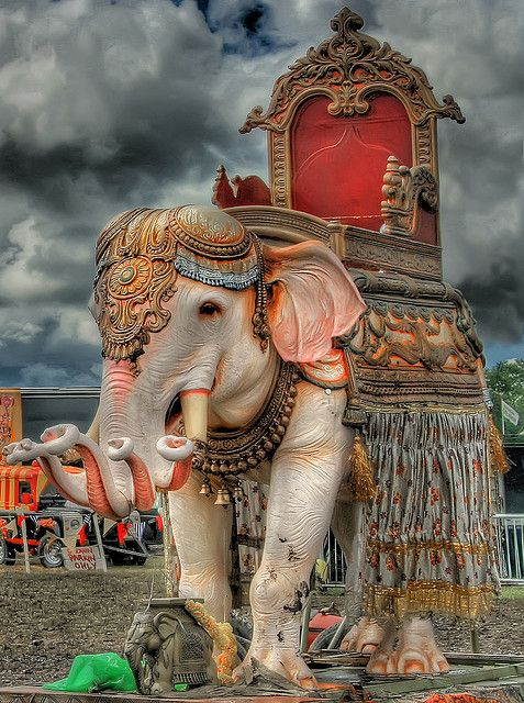Hindu Elephant on the Circus Field - Glastonbury Festival - Wales