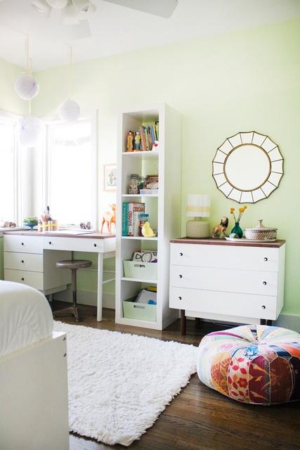 Office work space: white desk, shelf & dresser