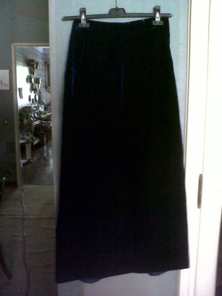 Long velvet cobalt blue skirt