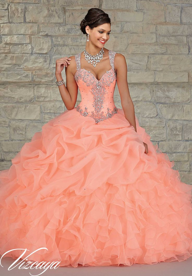 Quinceanera dresses by Vizcaya Ruffled Organza Skirt with Embroidered and Beaded Bodice. Matching Stole. Available in Mint, Coral, Iced Pink, White