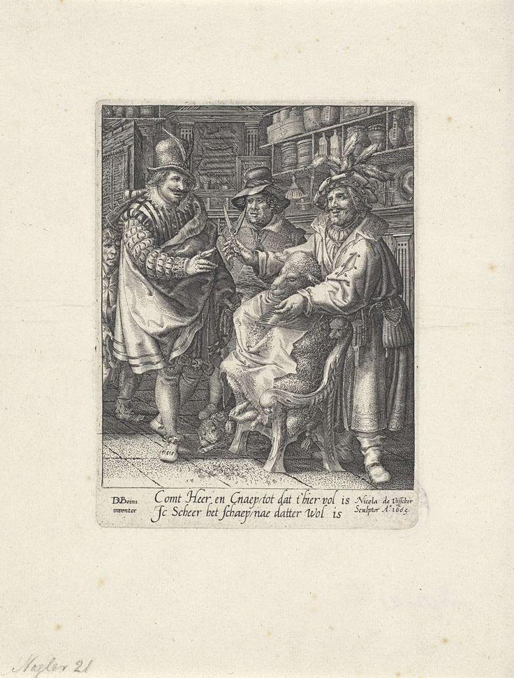 Claes Jansz. Visscher (II) | Schaap in de kapperswinkel, Claes Jansz. Visscher (II), 1605 | In een kapperszaak wordt een schaap geknipt door een kapper. Het schaap heeft een kapmantel om, de kapper houdt zijn schaar omhoog en spreekt tot een elegant geklede heer en een jongeman. In het midden kijkt een man met slappe hoed toe. Tegen de wand een kast met flacons, scheerkwasten en andere kappersbenodigheden.