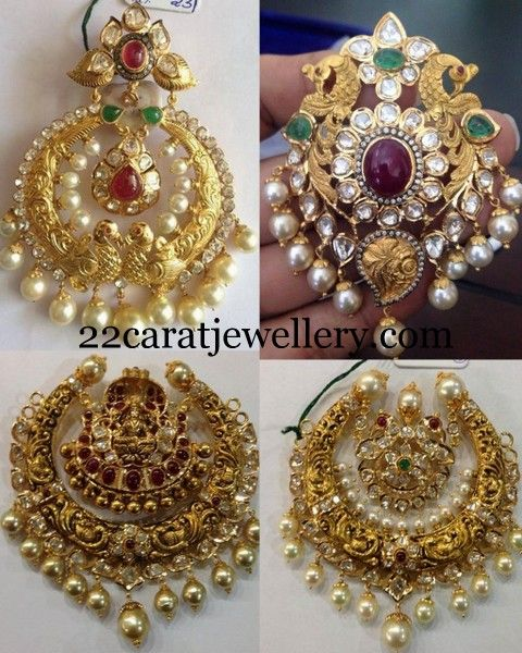 Peacock and Laxmi Antique Pendants | Jewellery Designs