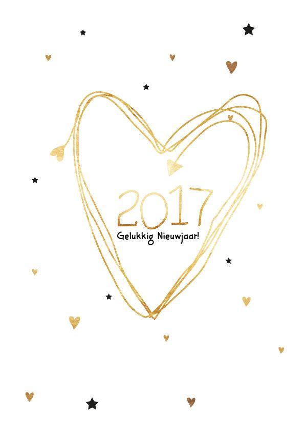 Feestelijke nieuwjaarskaart met een groot gouden hart, verkrijgbaar bij #kaartje2go voor €1,89