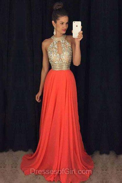 Orange Prom Dresses, High Neck Prom Dress, Chiffon Evening Gowns, A-line Party Dresses, Long Formal Dresses