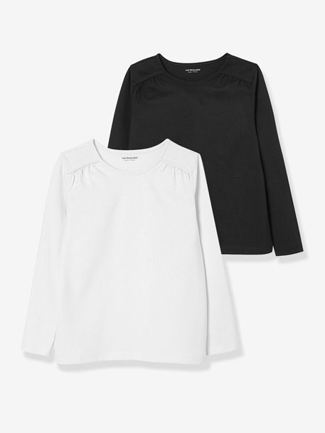 2er-Pack Langarm-Shirts für Mädchen, uni - PFIRSICH+GRAU+WEIß+SCHWARZ+WOLLWEIß+MARINE - 8