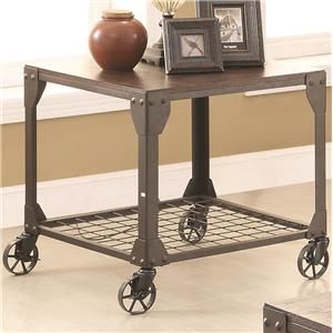 70390 End Table with Shelf and Casters