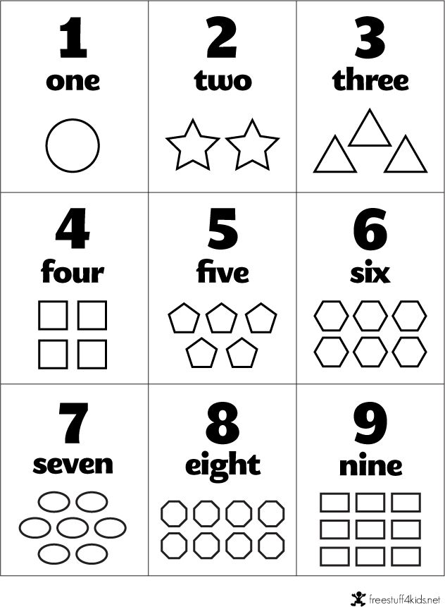 Free preschool flashcards- Numbers and Shapes