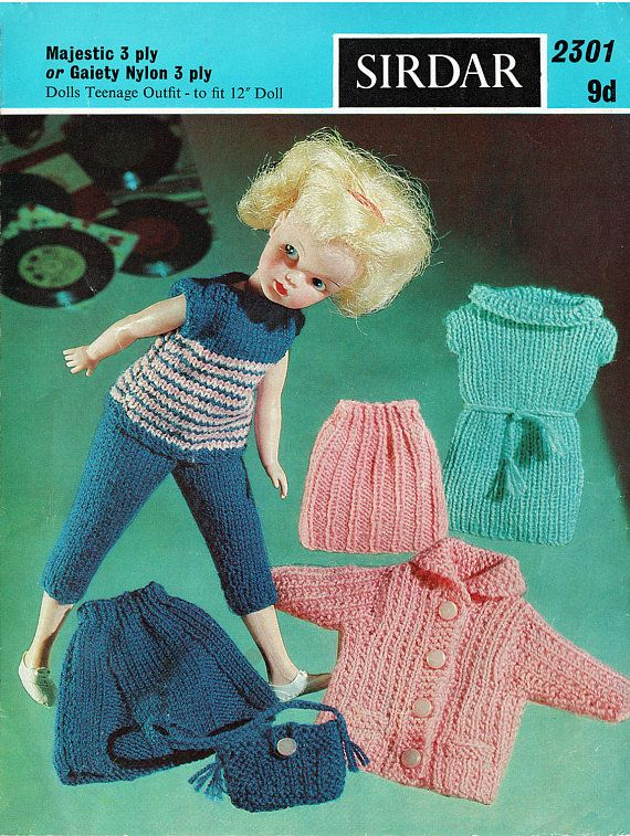 PDF Vintage Sindy Barbie Doll Clothes Knitting Pattern Dress