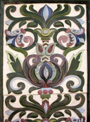 Majolica tiles on house facade-St. Petersburg