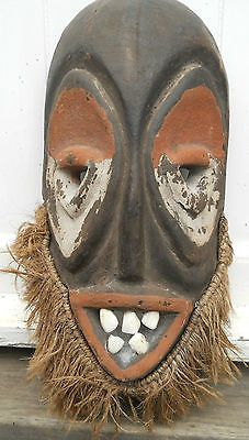 Wooden African Mask With Real Teeth Antiques And