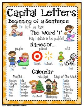 Capital Letters FREEBIE - Mrs. Jones' Creation Station - TeachersPayTeachers.com