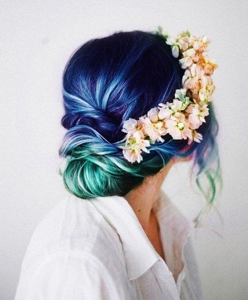 Cute Colored Curly Hairstyle with Flower Crown