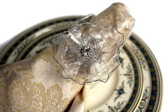 Matrimonio tovagliolo anello Set, strass, corrispondenza caketopper o centrotavola disponibile, arredamento reception cristallo, argento portatovagliolo