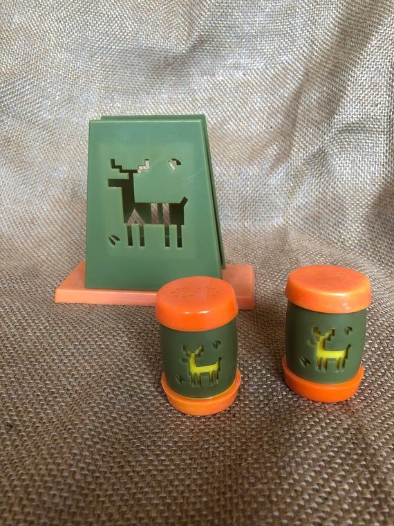 Vintage 1960s avocado and orange St Labre Indian (Native American) School napkin holder and salt and