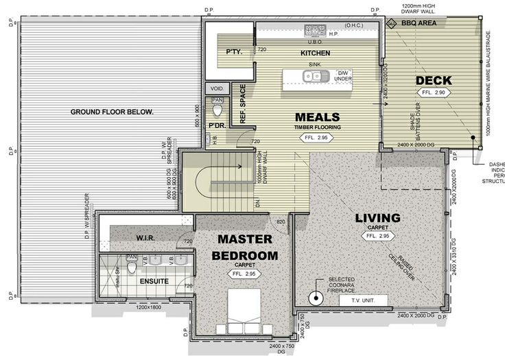 Kitchen pantry and fridge layout