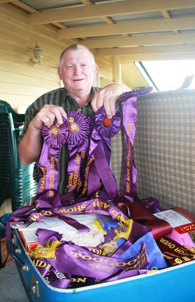 To celebrate the fabulous launch of the book in Brisbane on March 26 here is one of Queensland's best show cooks, Geoff Beattie, from Lockyer Valley, and his suitcase of championship ribbons. Geoff was one of seven cooks who travelled into Brisbane for the event. Thanks Geoff!