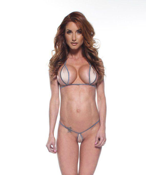 f6bfecce33174 Bitsy's Bikinis Solid Nude / Beige Teardrop Extreme Micro G-String Bikini 2  Piece Mini Thong Minimal