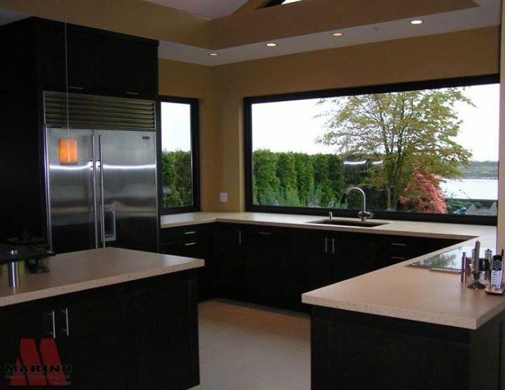 Modern, clean kitchen Big windows + view = perfection