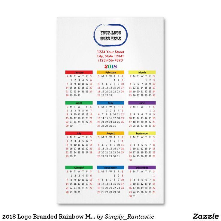 2018 Logo Branded Rainbow Magnetic Calendar Magnetic Business Card ...