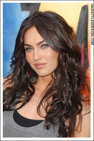 Details:  Hair Style: This look is hot and sexy. Megan Fox has very long curly hair that simply looks incredible. Her hair falls in such a way that it looks very romantic.  Hair Cut: The haircut is very long.  Hair Colour: The hair colour is a rich chocolate brown.  Suitable For:  Face shapes: oval, square, heart, diamond  Hair texture: medium, thick  Hair density: medium  Styling:  Techniques: blow dry  Products: mousse, hair spray, sculpture lotion