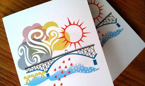 Ross Island Bridge Portland Notecards by SweetBonny on Etsy, $9.25