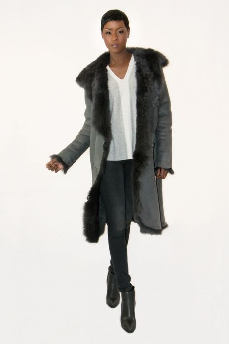 Reese Hooded Sheepskin Coat